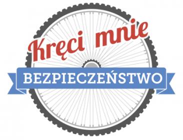 BAner Kręci mnie bezpieczeństwo z logotypem programu - koło rowerowe oraz z logotypami patronatów i partnerów